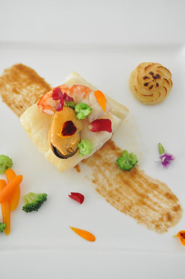 bacalao gambas y verduras