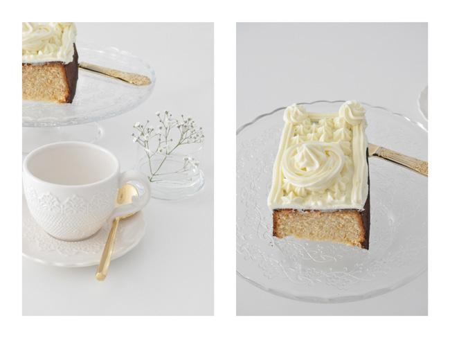 Cake con frosting de queso y vanilla