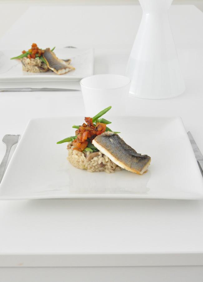 arroz con verduras y lubina