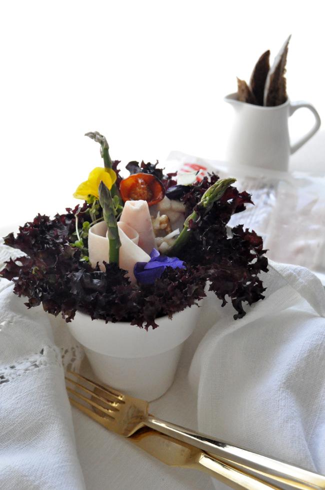 Ensalada con pavo frío flores  en maceta