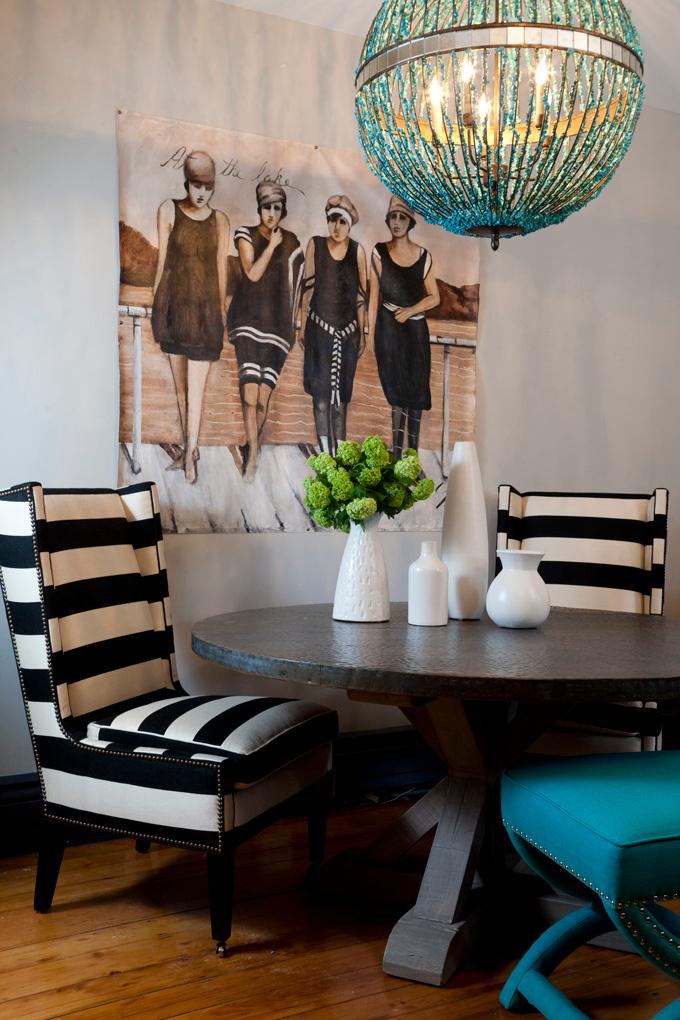 silla tapizada  de rallas