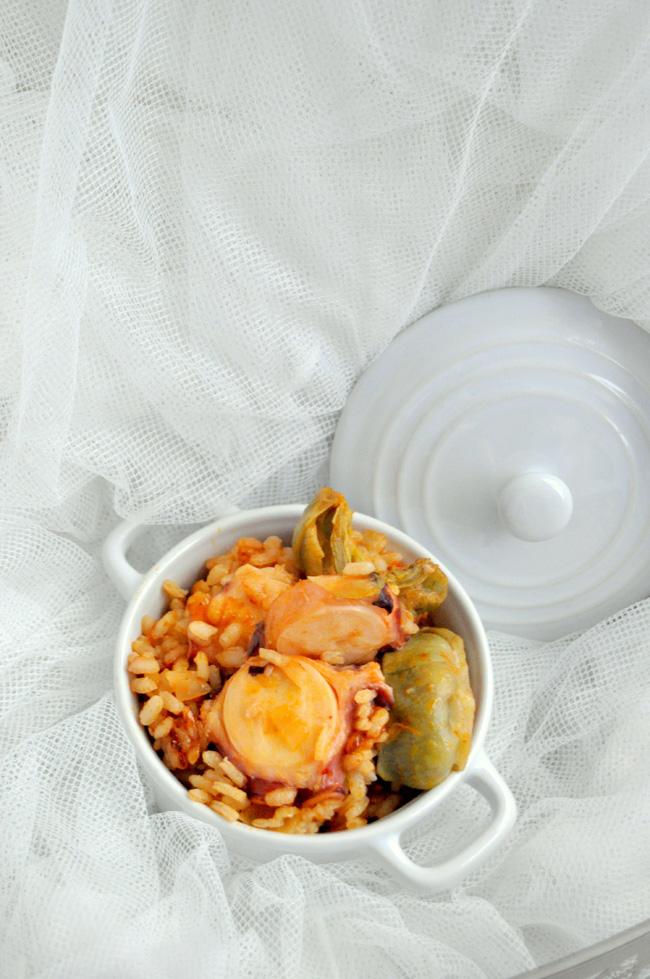 arroz con pulpo y alcachofas