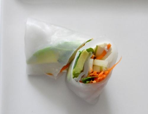 Rollitos de primavera con tofu y salsa de anacardos