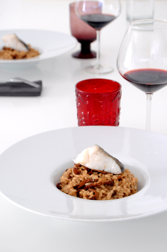 risotto de rosinyols y bacalao1