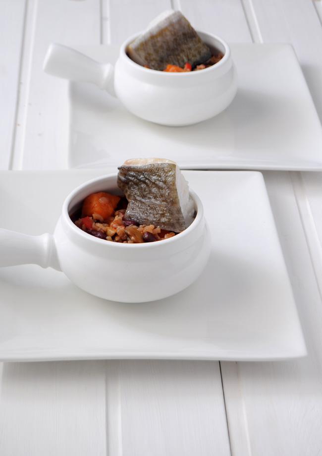 arroz caldoso con alubias boniato y bacalao a baja temperatura