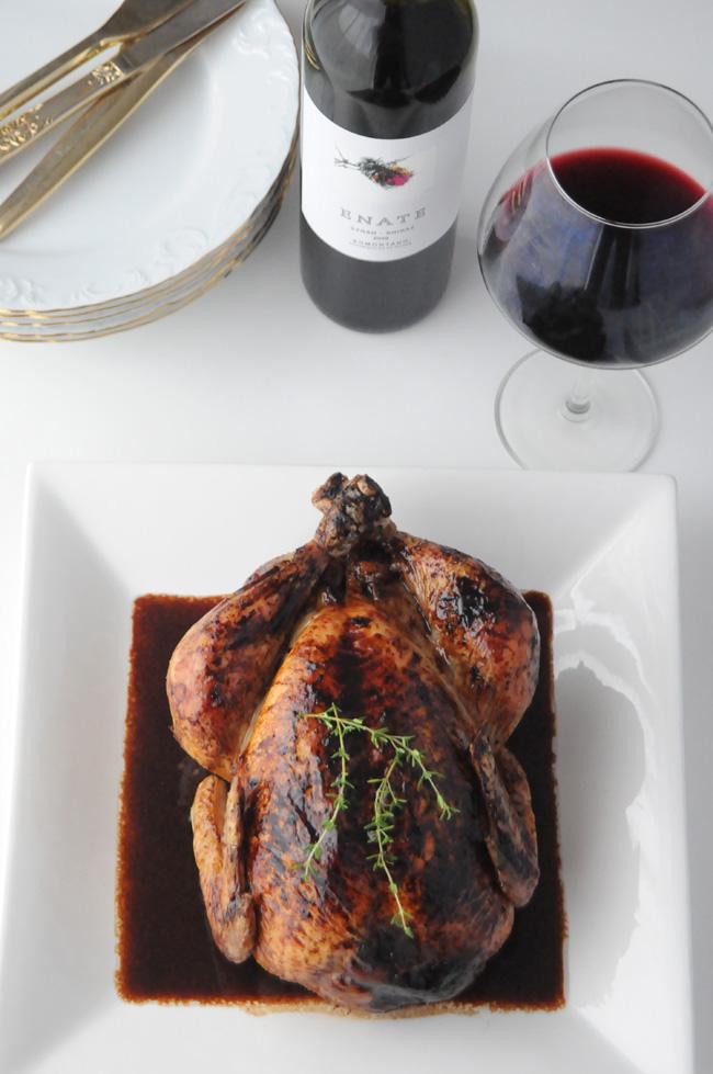 pollo relleno con vino tinto
