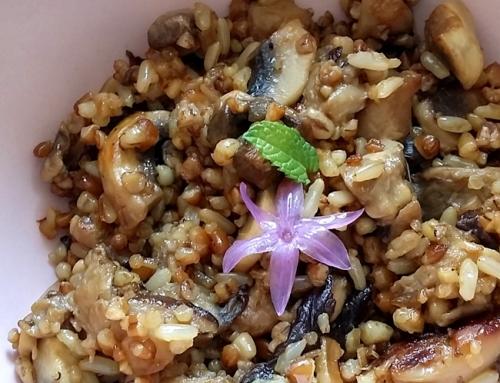 Shiitake con berenjena y quinoa