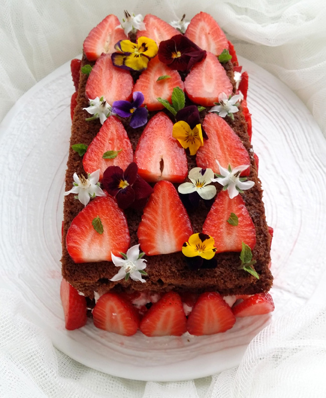 brownie de nata y fresas 1