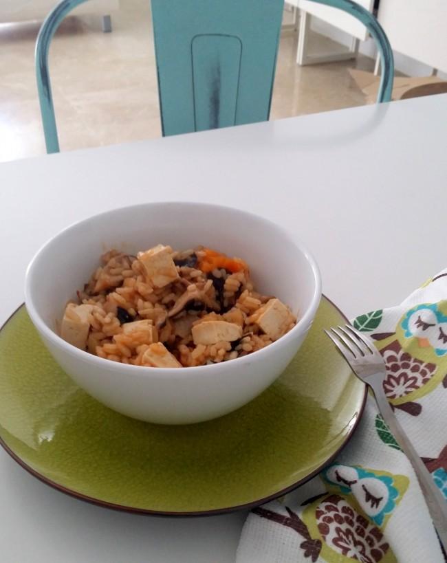 Arroz con shiitake y tofu